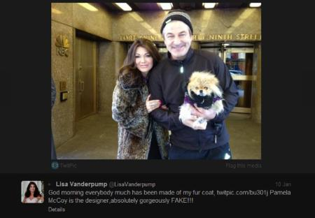 Lisa Vanderpump wearing her Pamela McCoy faux fur