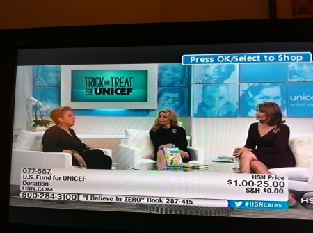 UNICEF CEO Caryl Stern, HSN CEO Mindy Grossman and host Colleen Lopez sternm