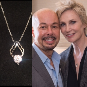 Michael O'Connor, his angle wing pendant and actress Jane Lynch.